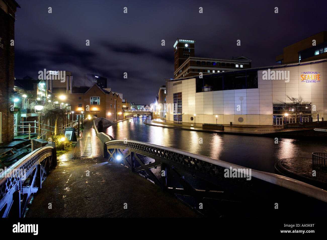 View of the canal area near to Brindleyplace Birmingham England Birmingham  Pictured is the National Sea Life Centre - Stock Image