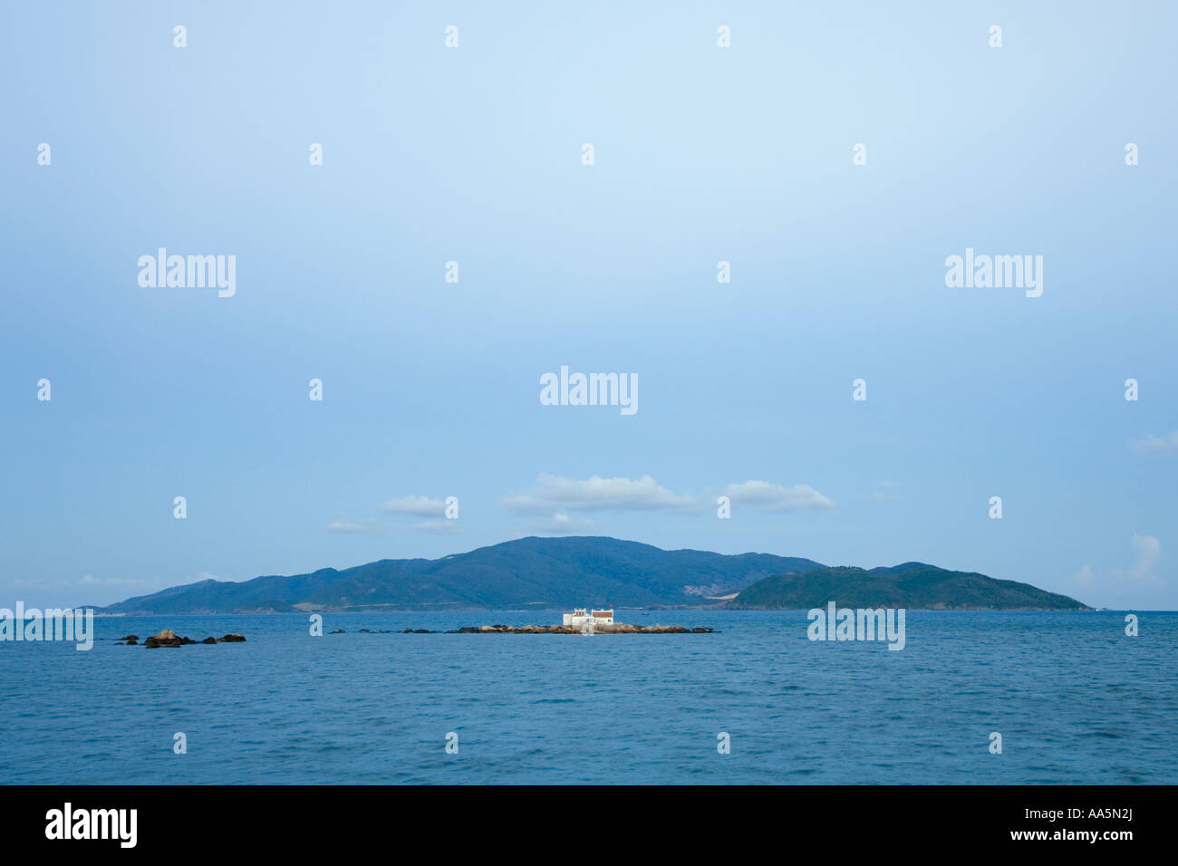 VIETNAM NHA TRANG CITY Buddhist temple on the tiny island of Hon Du also known as Red Island in the South China Stock Photo