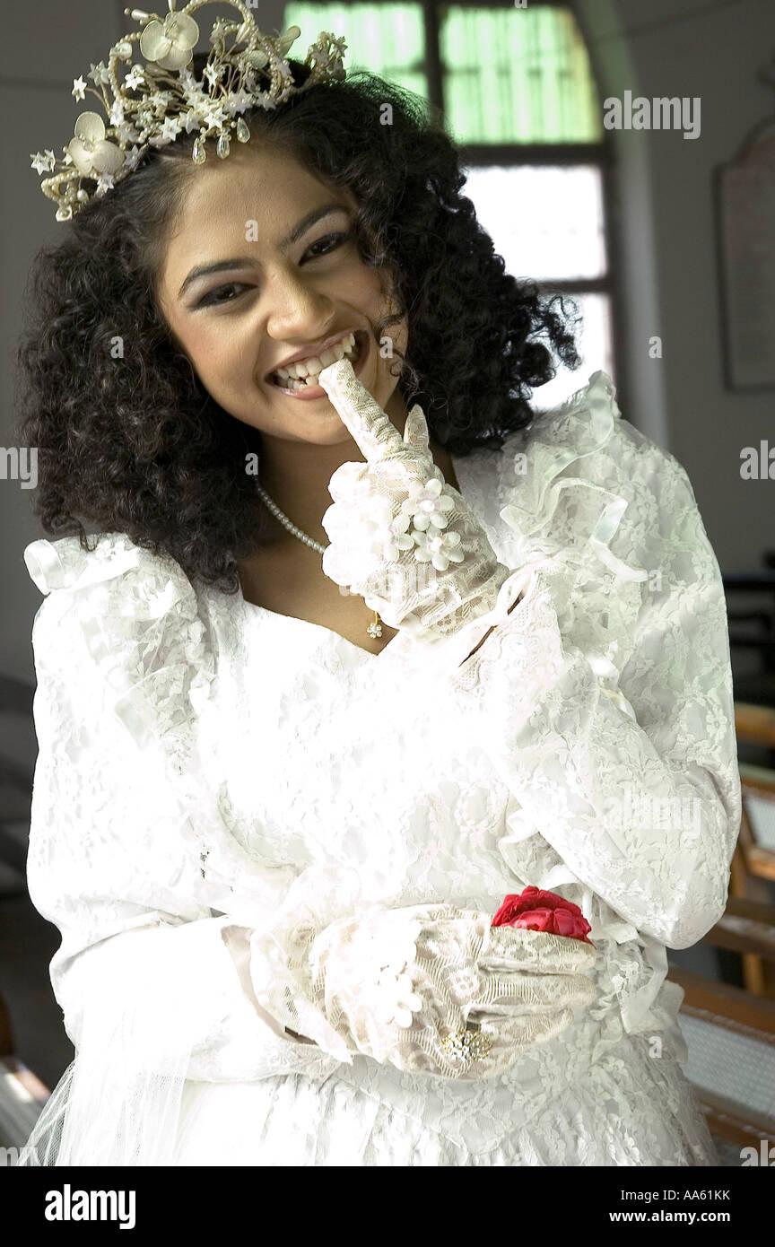 KHG104168 Indian Akanchha in Christian wedding bridal dress No model ...