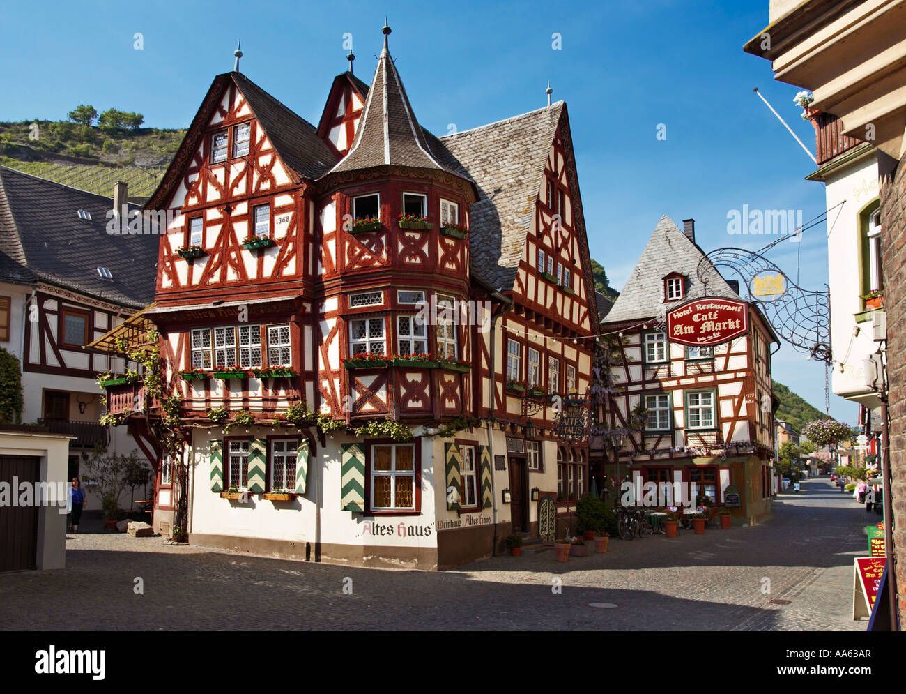 Famous old red house in Bacharach, Germany - the Altes Haus, Rhineland, Rhine Valley Stock Photo