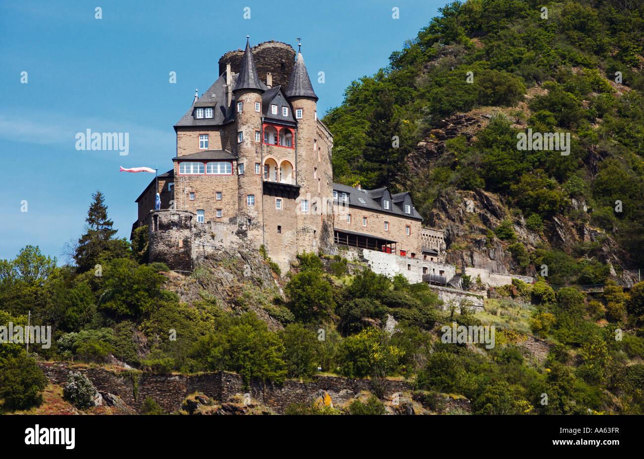 Castle Katz, Rhine castle, Rhineland, Germany, Europe - Stock Image