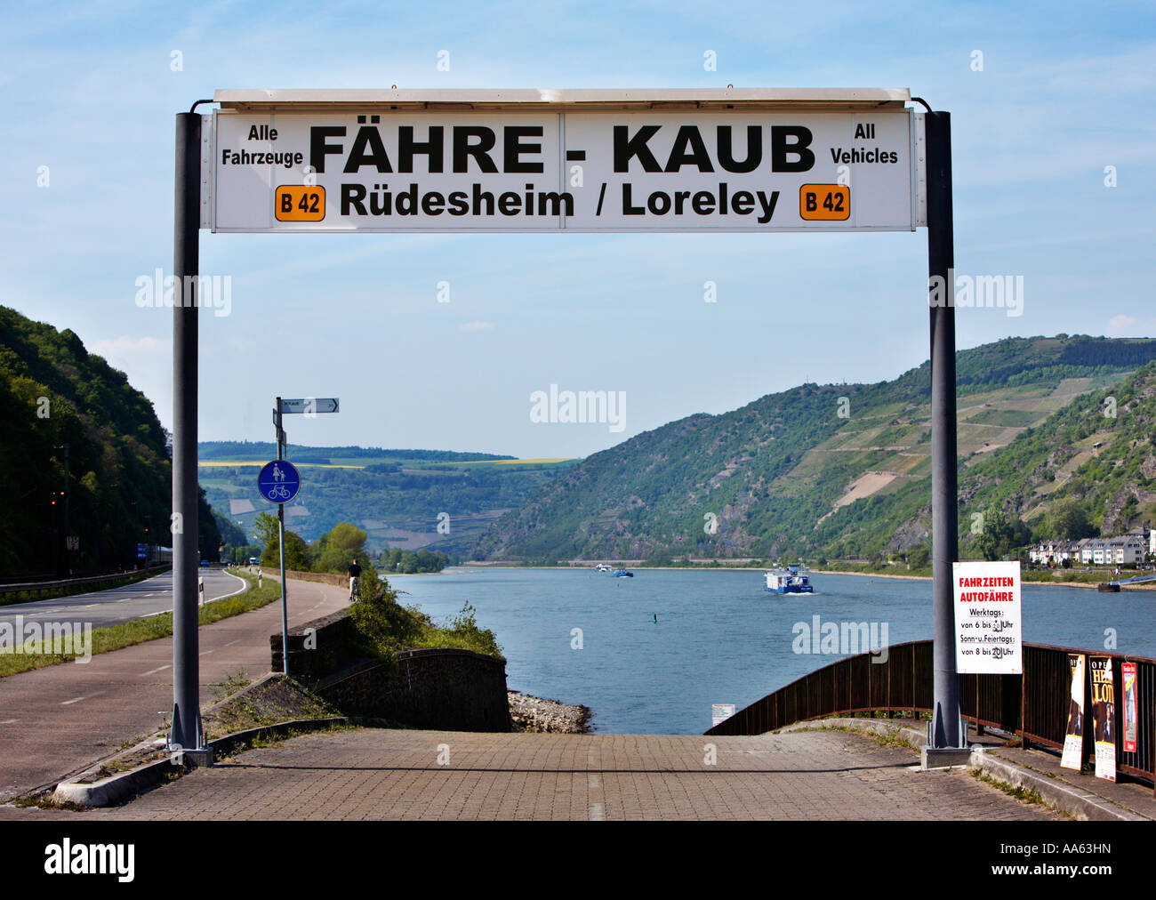 Rhine river car ferry sign and entrance at Kaub - Stock Image