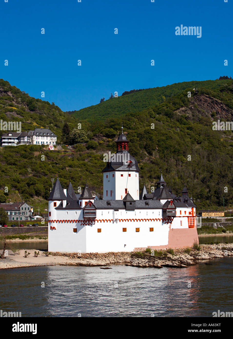 Castle Pfalz on the River Rhine, Germany, Europe Stock Photo