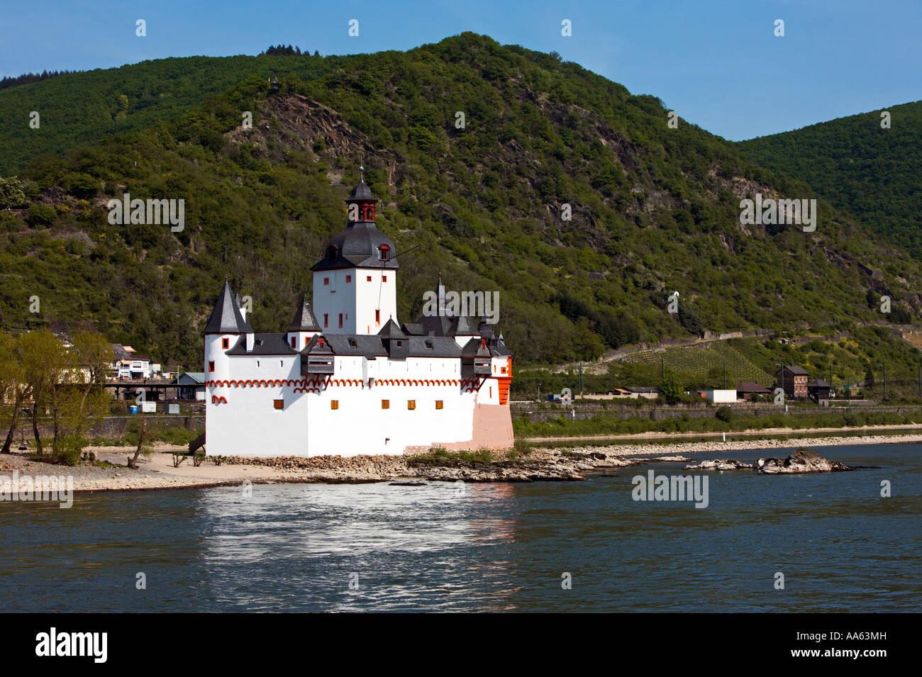 Castle Pfalz on the River Rhine, Rhineland, Germany, Europe Stock Photo