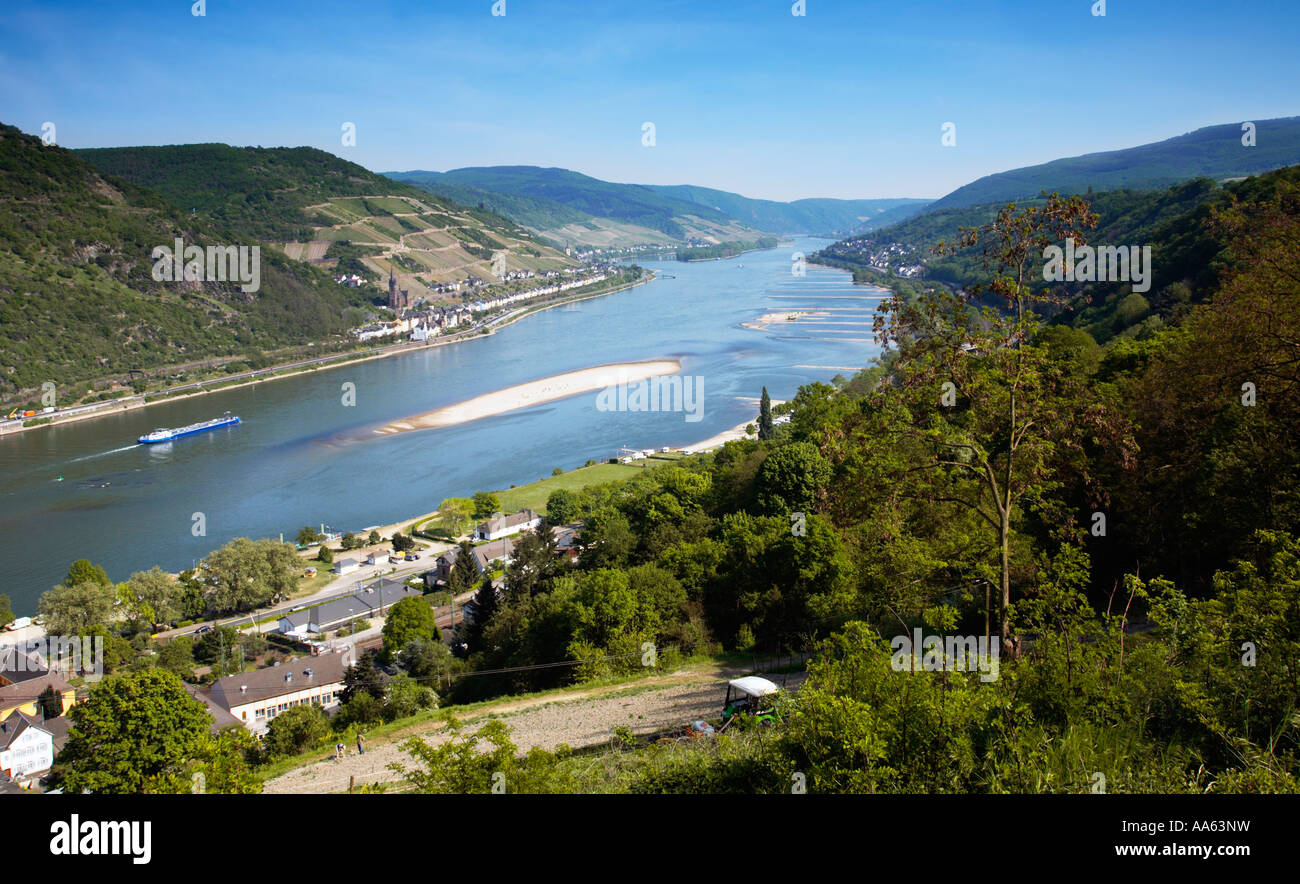 The Rhine River and Rhine Valley in Rhineland, Germany, Europe - Stock Image