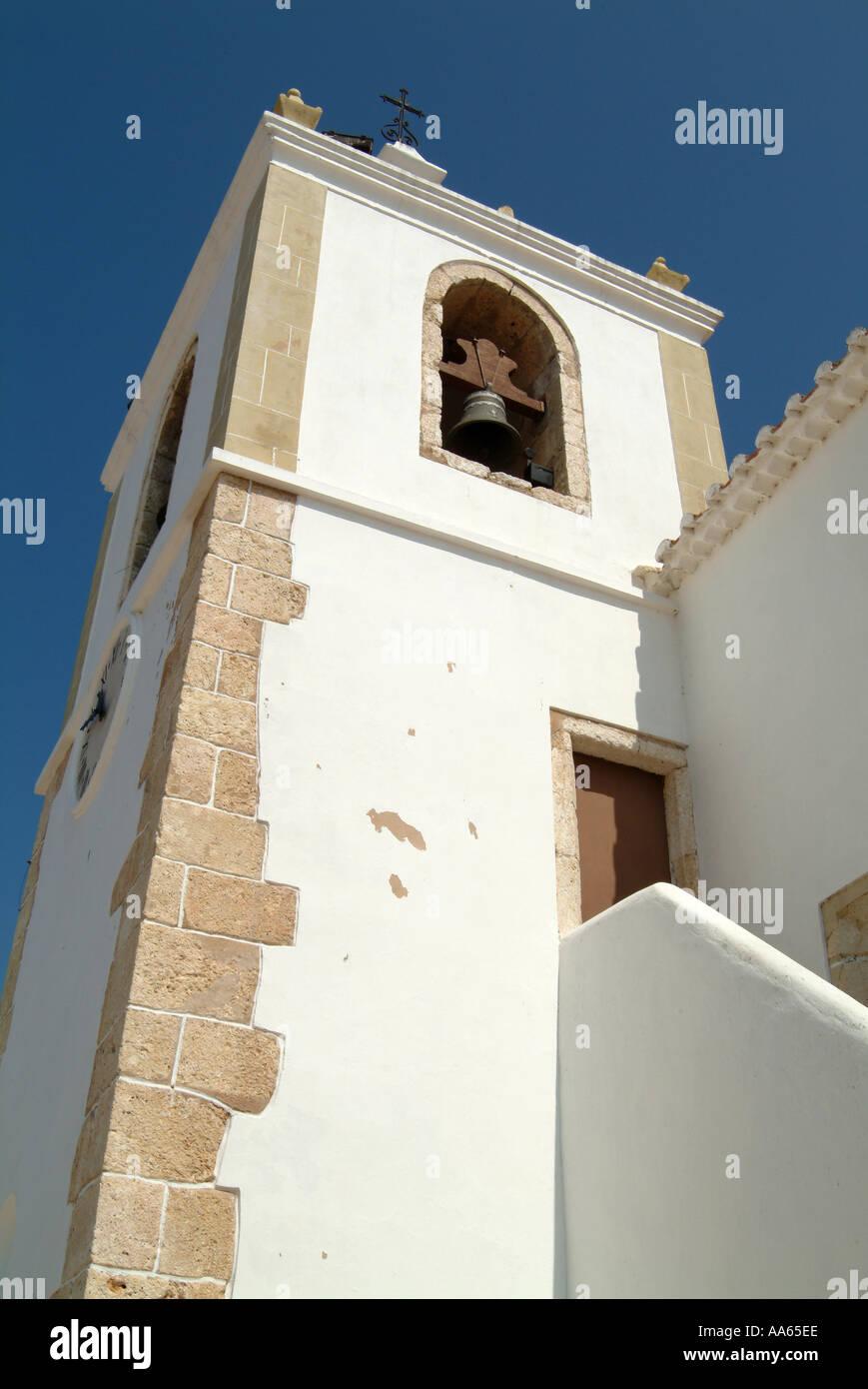 Bell Tower at Alvor Church Algarve Portugal - Stock Image