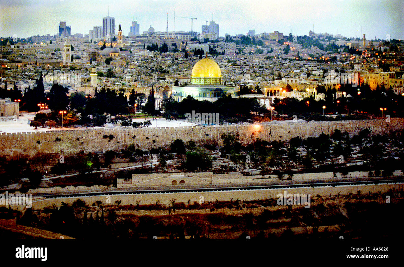 Known to Jews as the Temple Mount and to Muslims as the Noble Sanctuary this view of Jerusalem is shown October - Stock Image