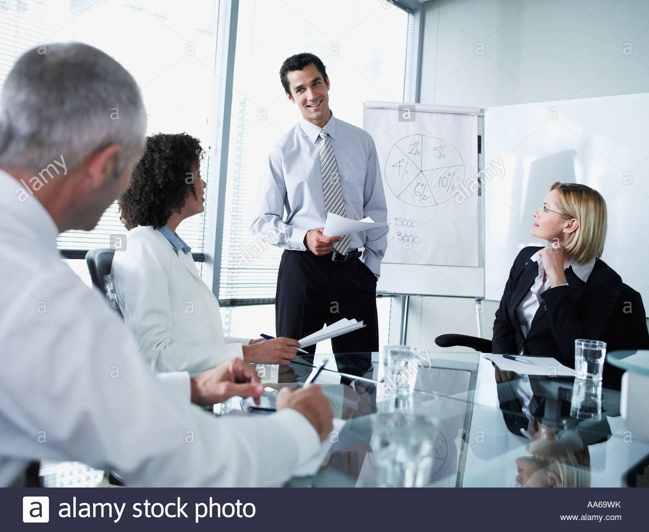 Group of office workers in a boardroom presentation - Stock Image