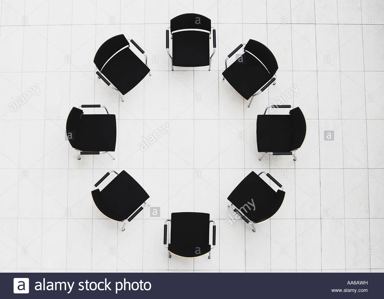 Aerial View Of Empty Chairs In A Circle Stock Photo