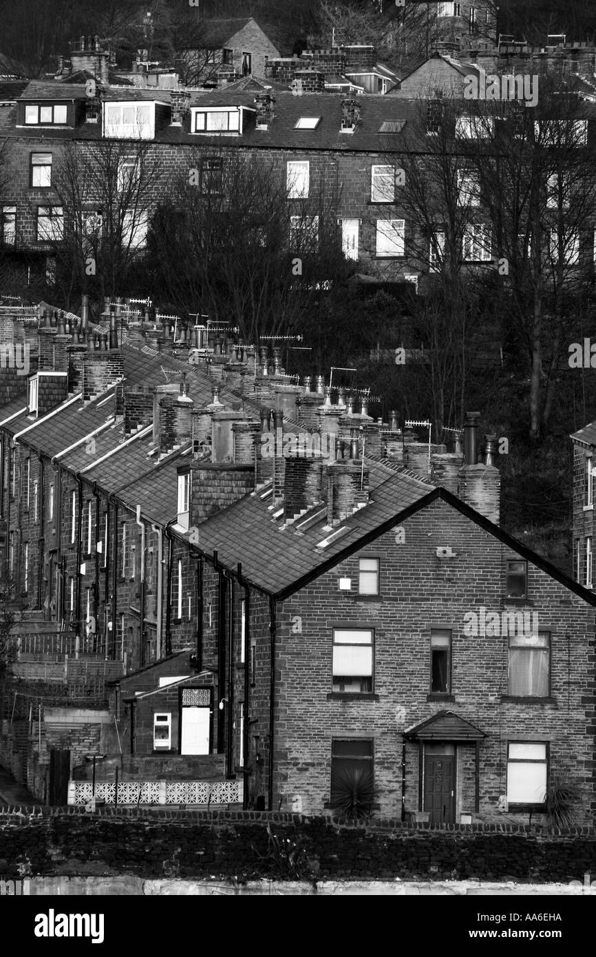 Typical northern terraces on the hillside in Bingley Monochrome - Stock Image