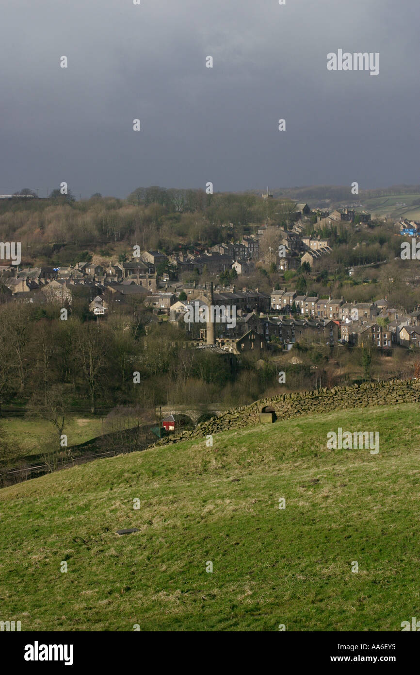 Towards Haworth from Hebden Road Oxenhope area - Stock Image