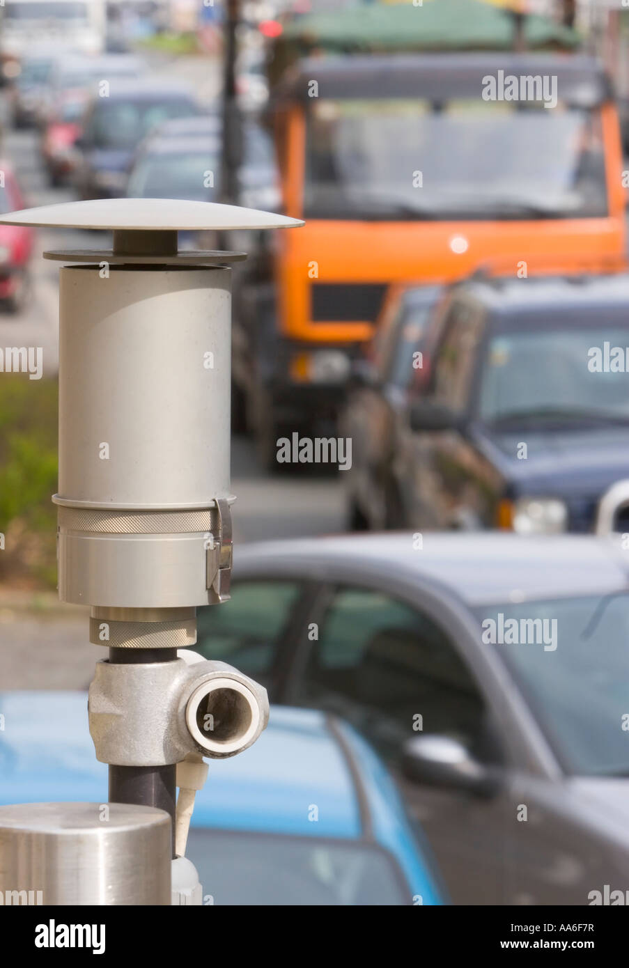 An air pollution measurement station examining the air for fine particles pollution - Stock Image