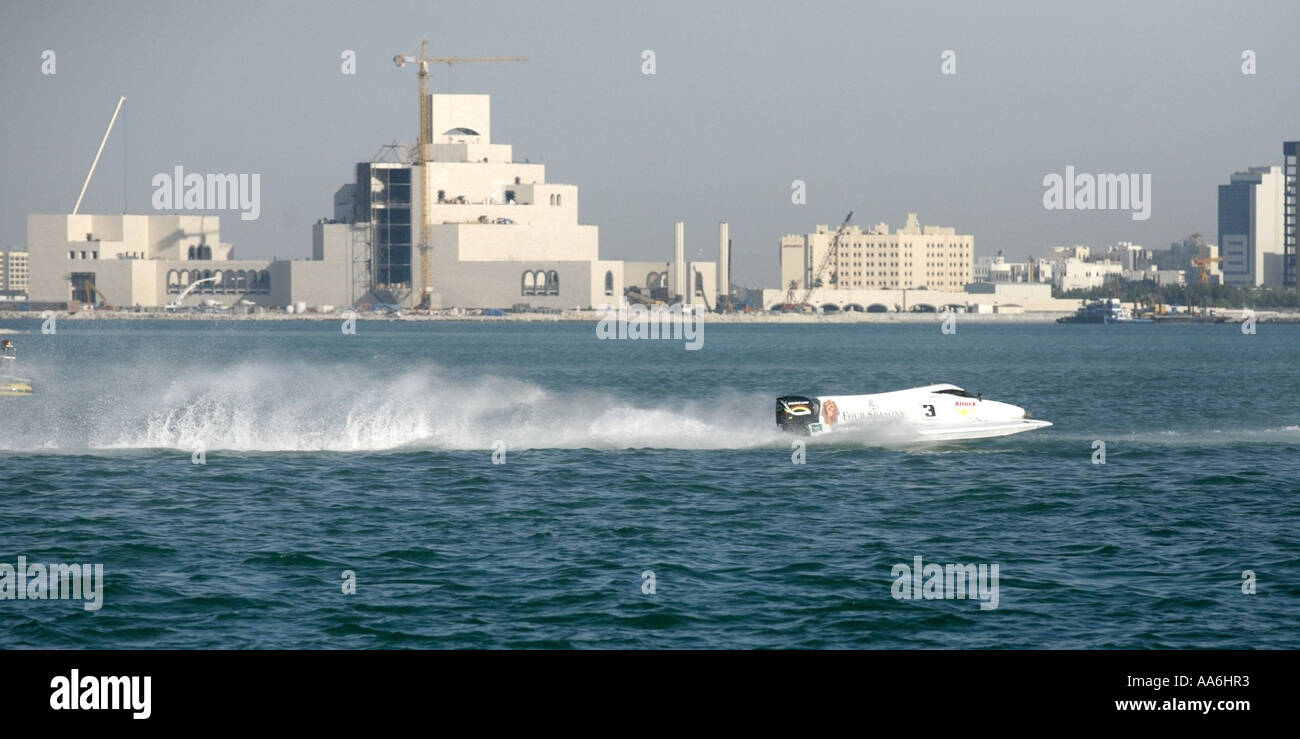Team Four Seasons powerboat at the UIM Formula One Powerboating Championships in Doha Bay Qatar April 15 2006 - Stock Image