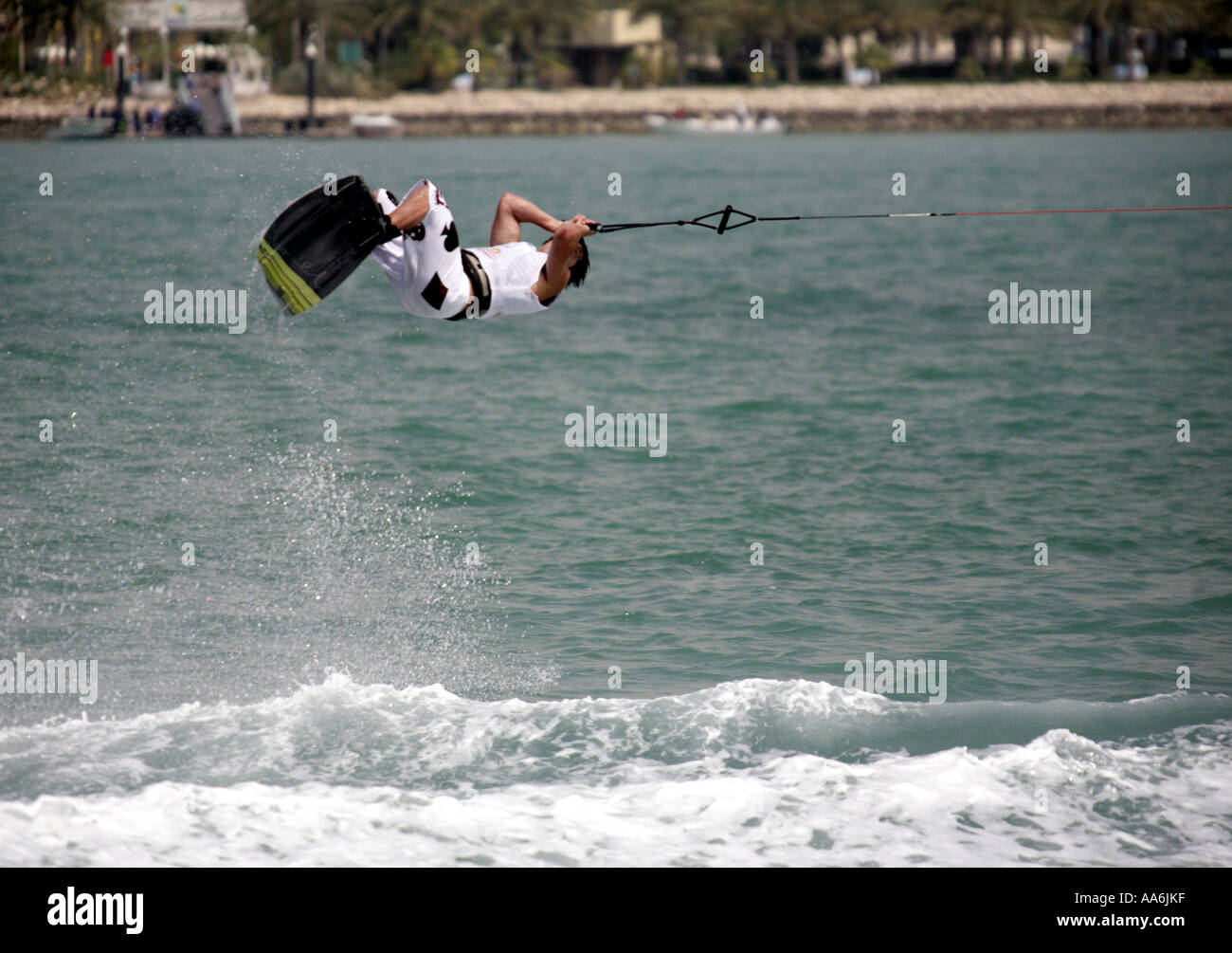 Chad Sharpe of Canada at the Wakeboard World Cup tournament in Doha Qatar April 22 2006 - Stock Image