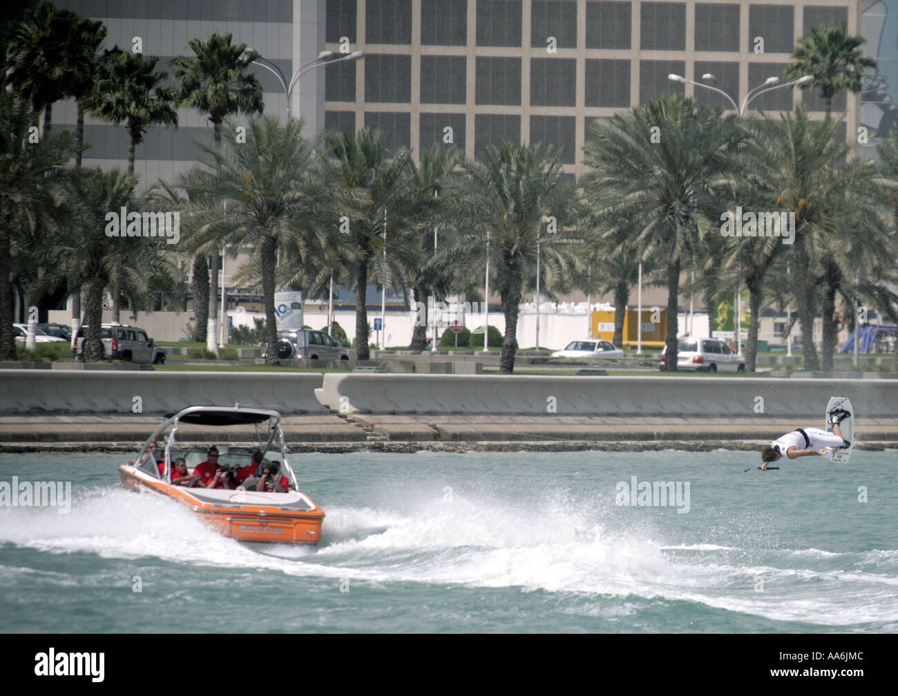Andrew Adkinson of the USA at the Wakeboard World Cup tournament in Doha Qatar April 22 2006 - Stock Image
