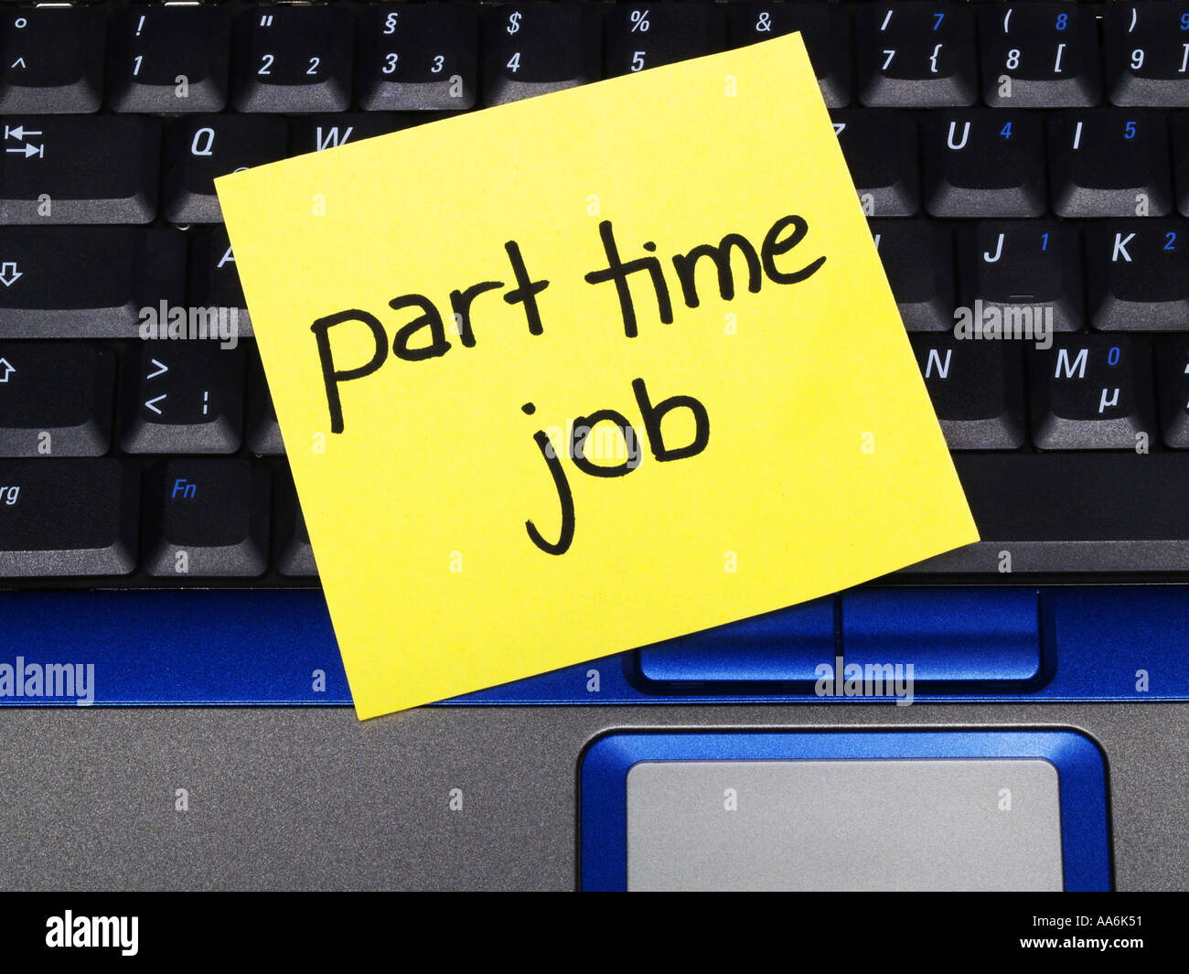 memo note on notebook, part time job - Stock Image