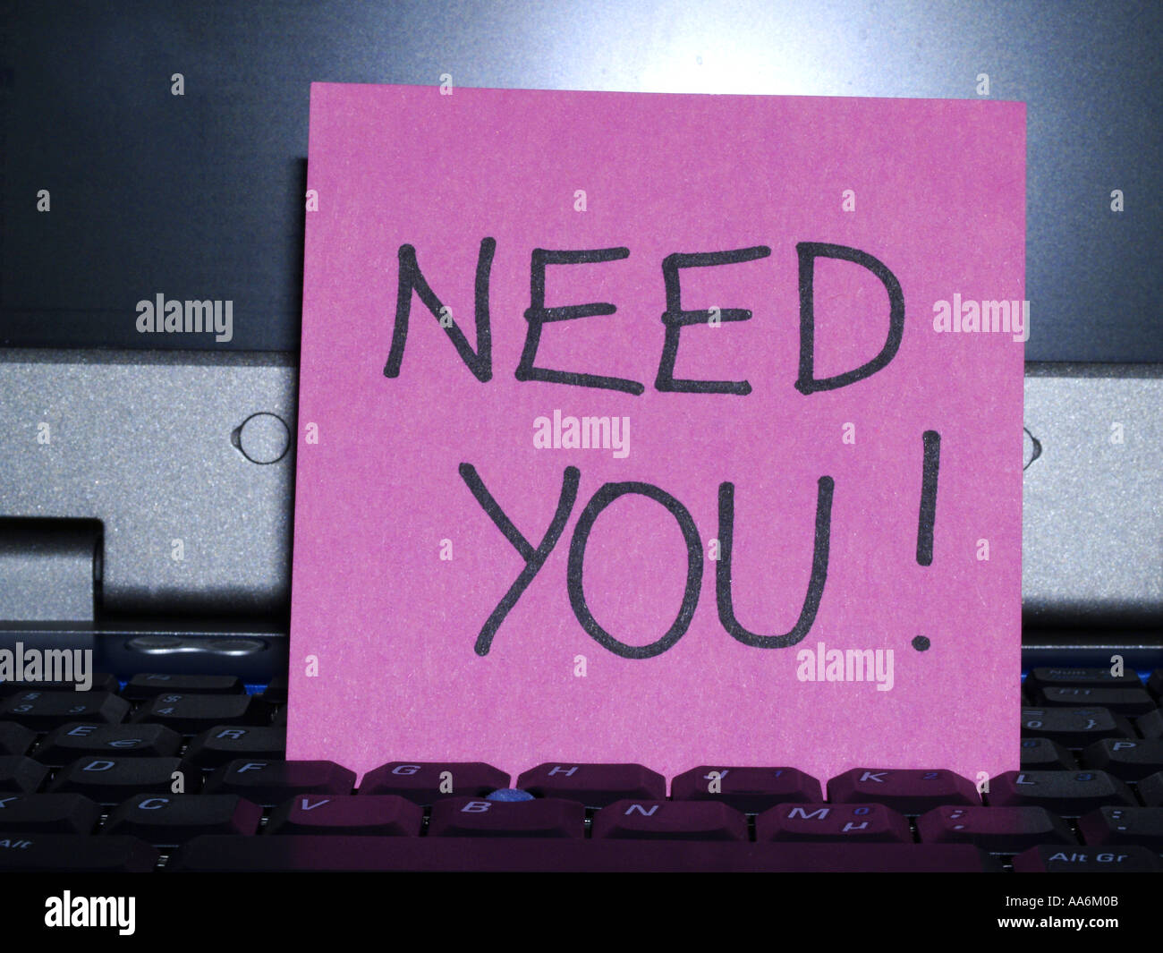 memo note on notebook, need you - Stock Image
