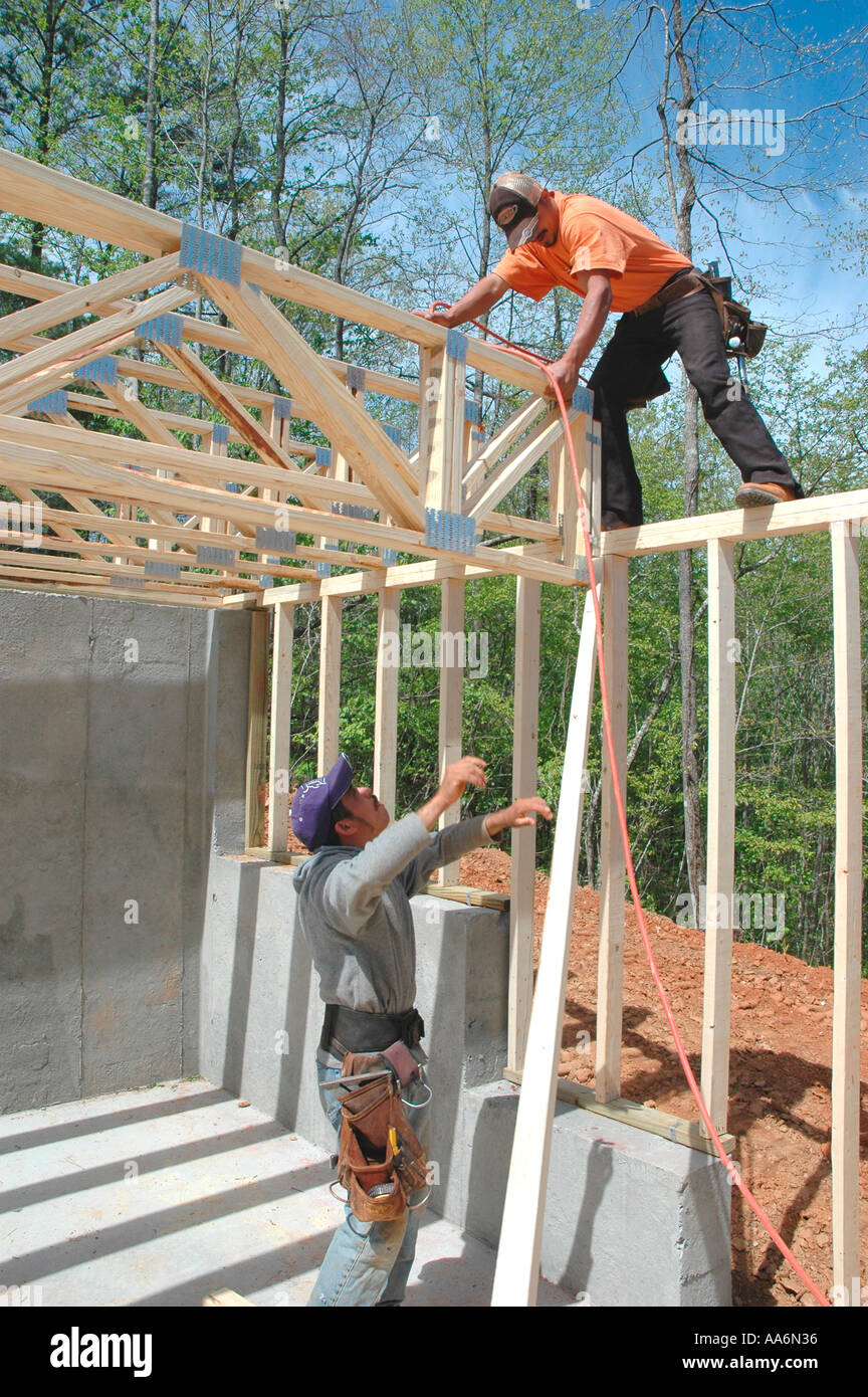 Rough Framing Crew From Mexico And Guadamala Working In