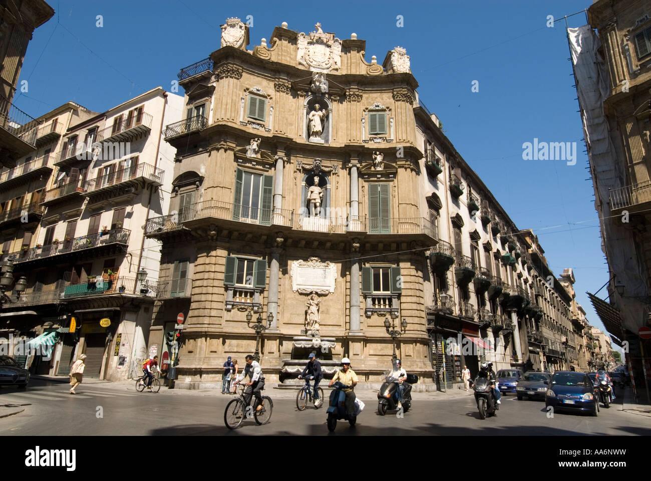 Quattro Canti di citta at Piazza Vigliena, Palermo, Sicily, Italy - Stock Image