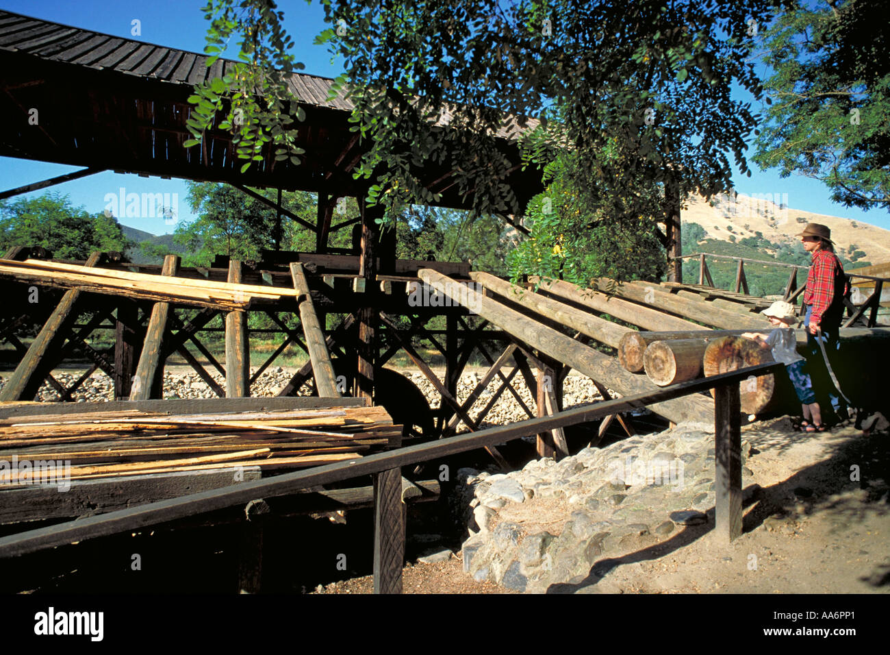 Elk240 1685 California Motherlode Coloma gold discovery site Sutter s sawmill replica - Stock Image