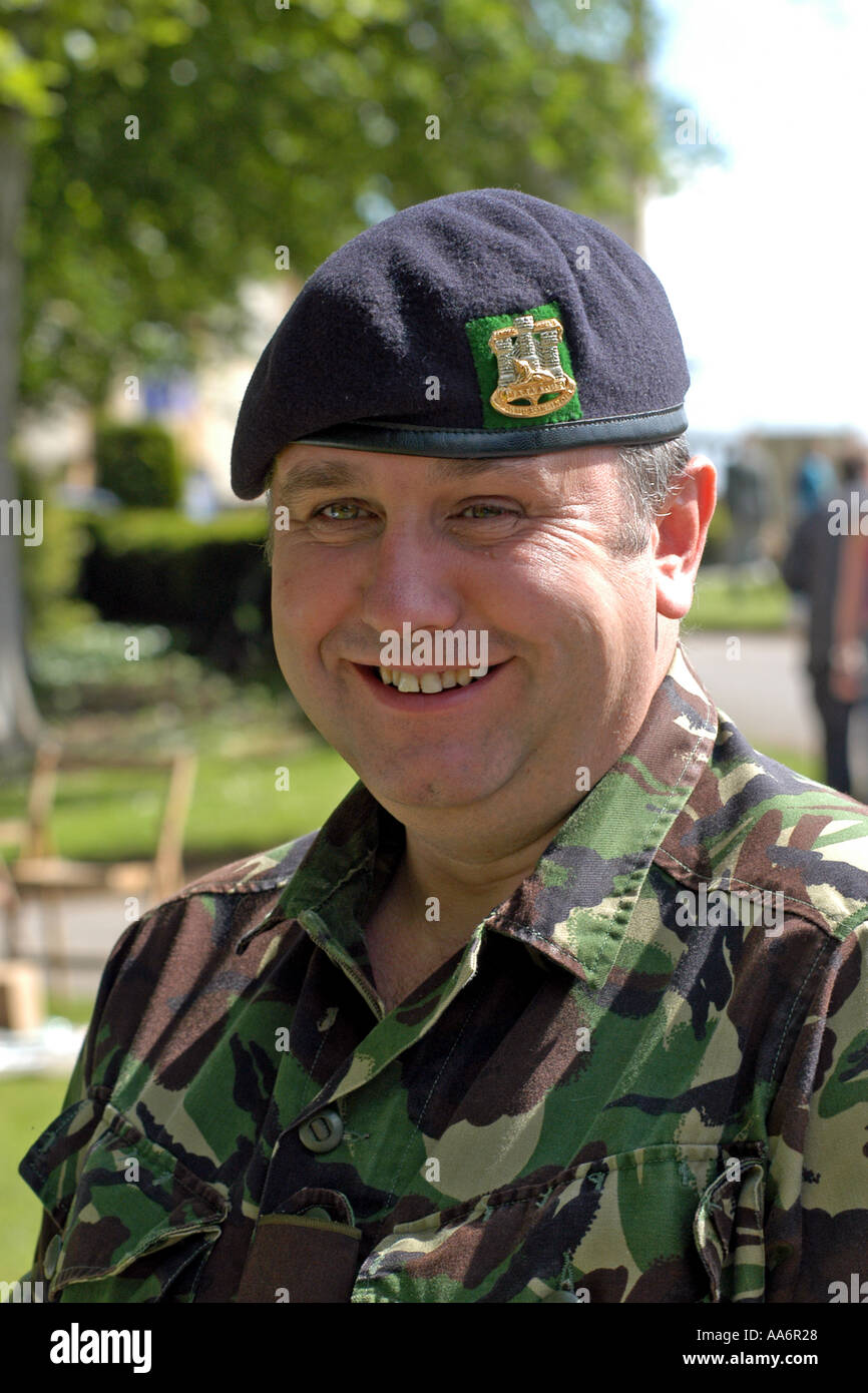 British Army recruiting Sergeant at a careers day for school leavers - Stock Image
