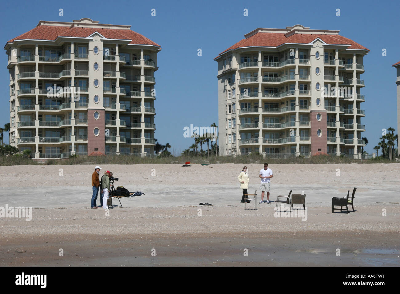 Photo shoot on the beach Stock Photo