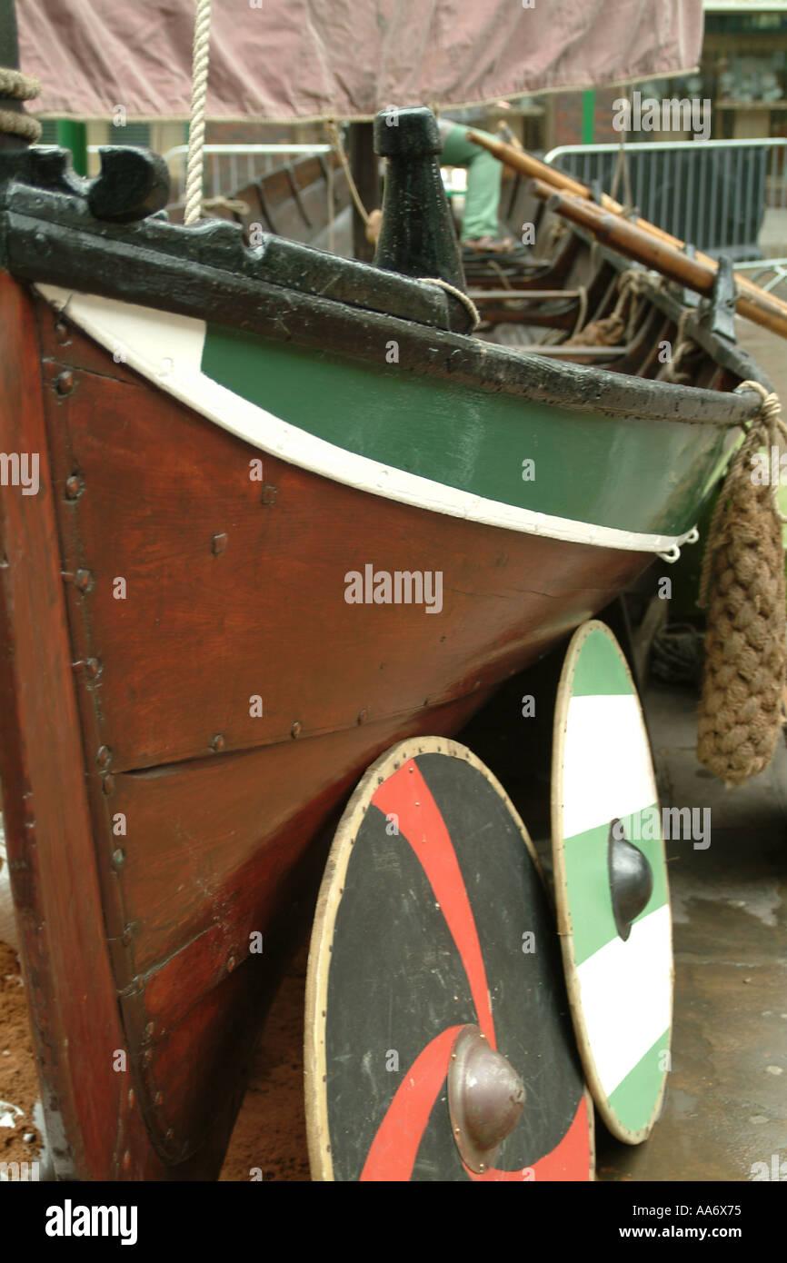 Shields from Viking Longship - Stock Image