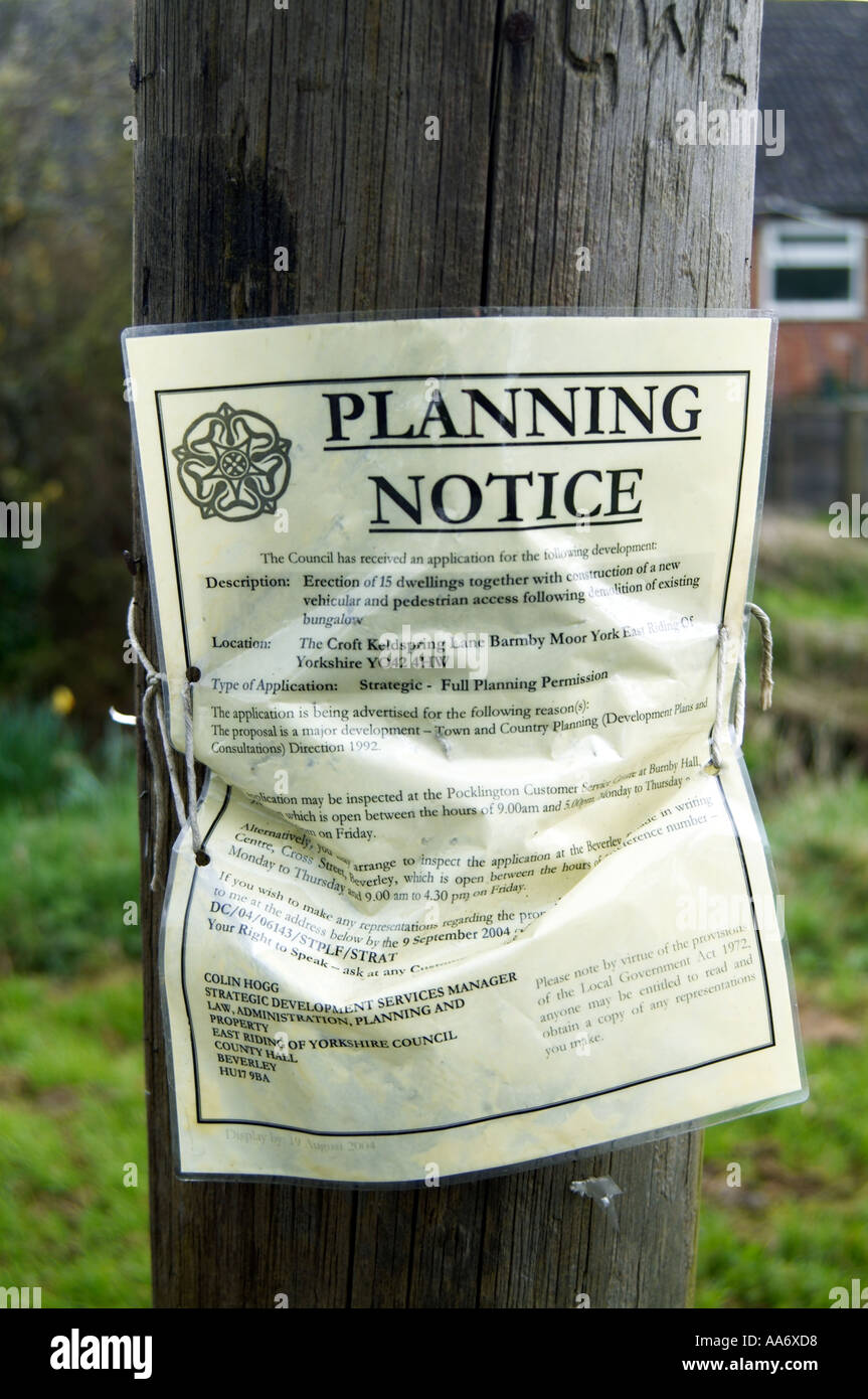 Planning Application notice issued by local authority - Stock Image