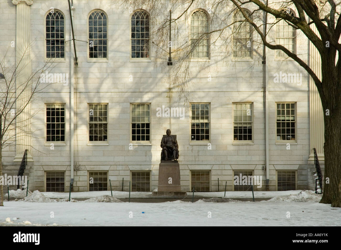 John Harvard statue in Harvard University - Stock Image
