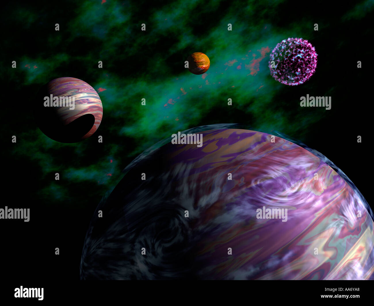 Alien Planets, Conceptual Illustration - Stock Image