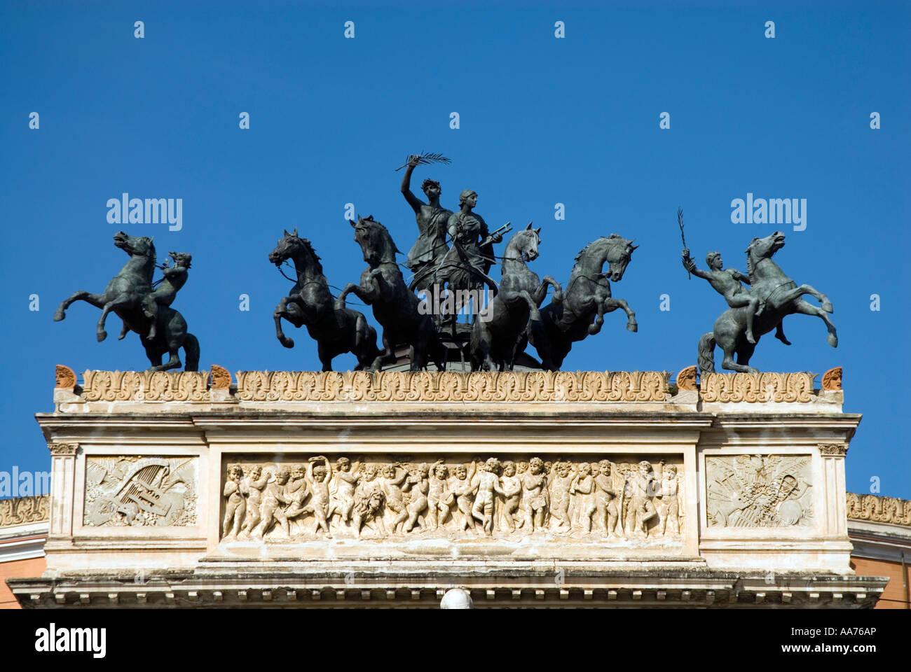 Bronze sculpture on the roof of the Teatro Politeama Garibaldi, Palermo, Sicily Italy Stock Photo