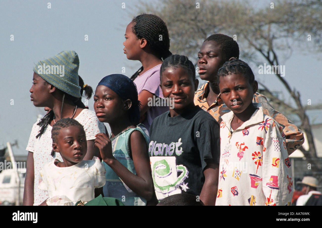 Namibian youth seated inthe back of a truck arrive at the MaHerero Day festival Celebrations are held in Okahandja - Stock Image