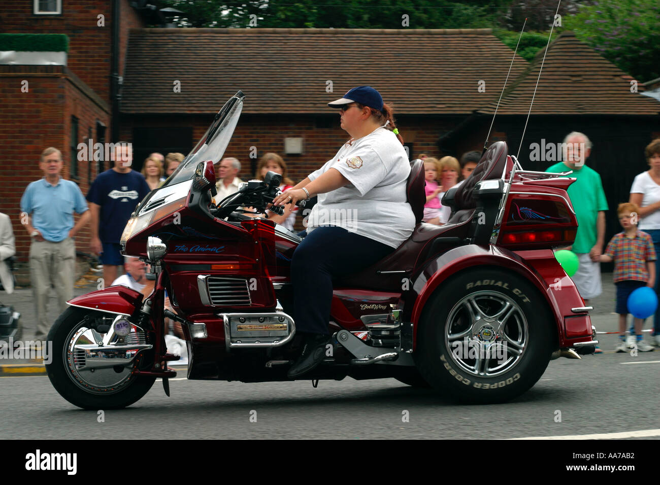 Honda Goldwing Trike >> Honda Goldwing trike on the move, rider not wearing a helmet Stock Photo: 686770 - Alamy