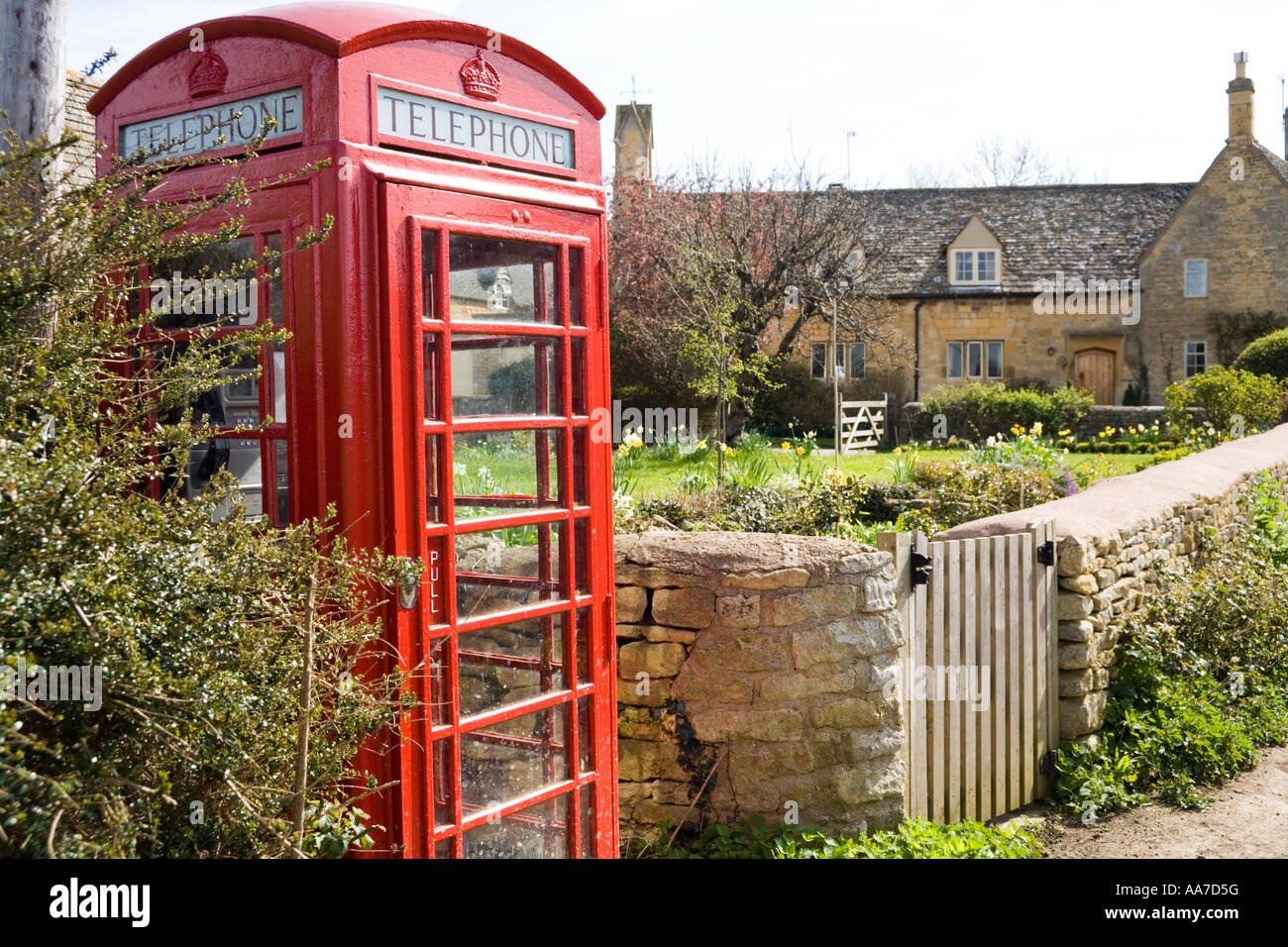 Rural country telephone kiosk in the Cotswold village of Laverton Gloucestershire - Stock Image