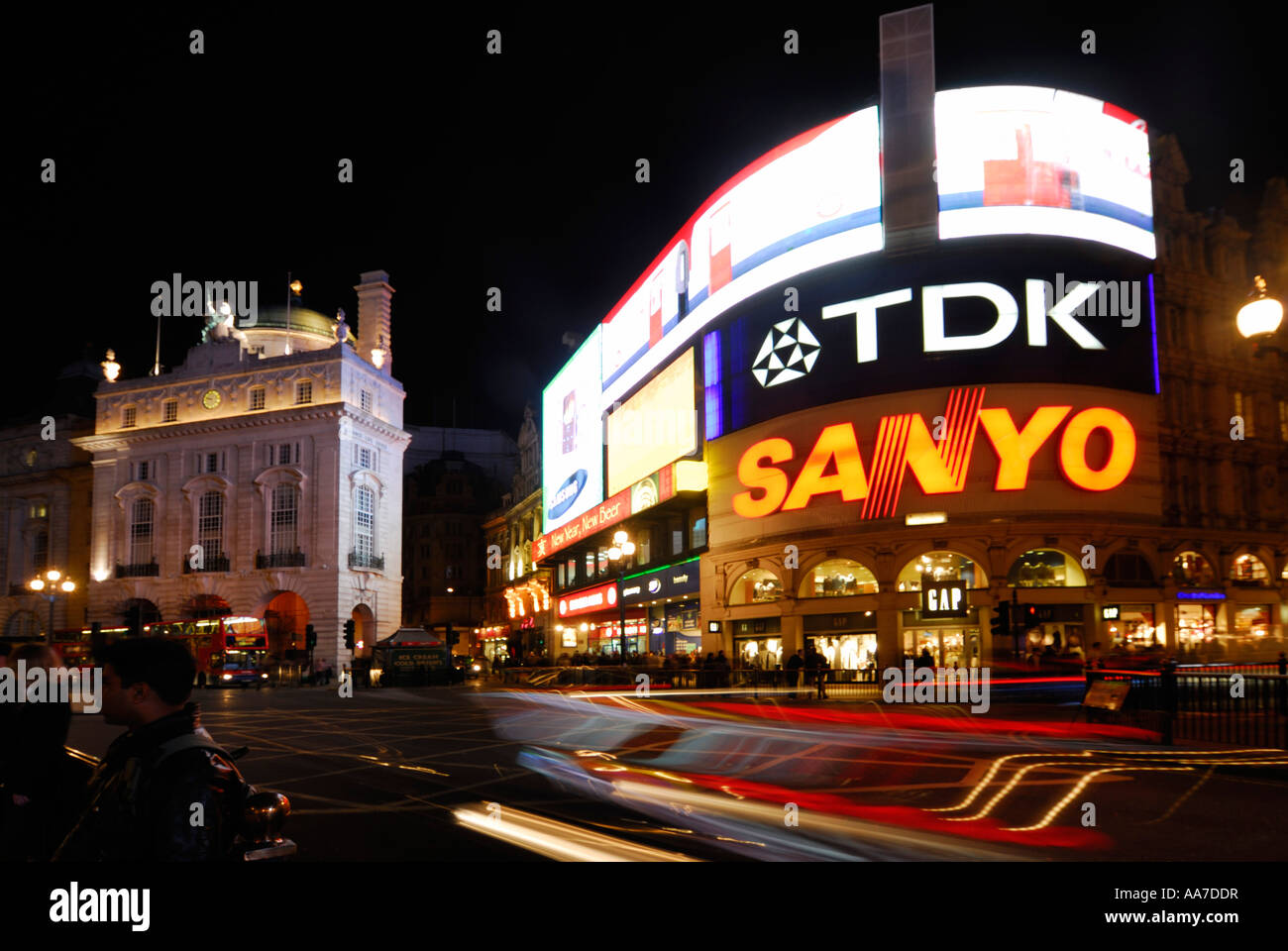 picadilly circus at night - Stock Image