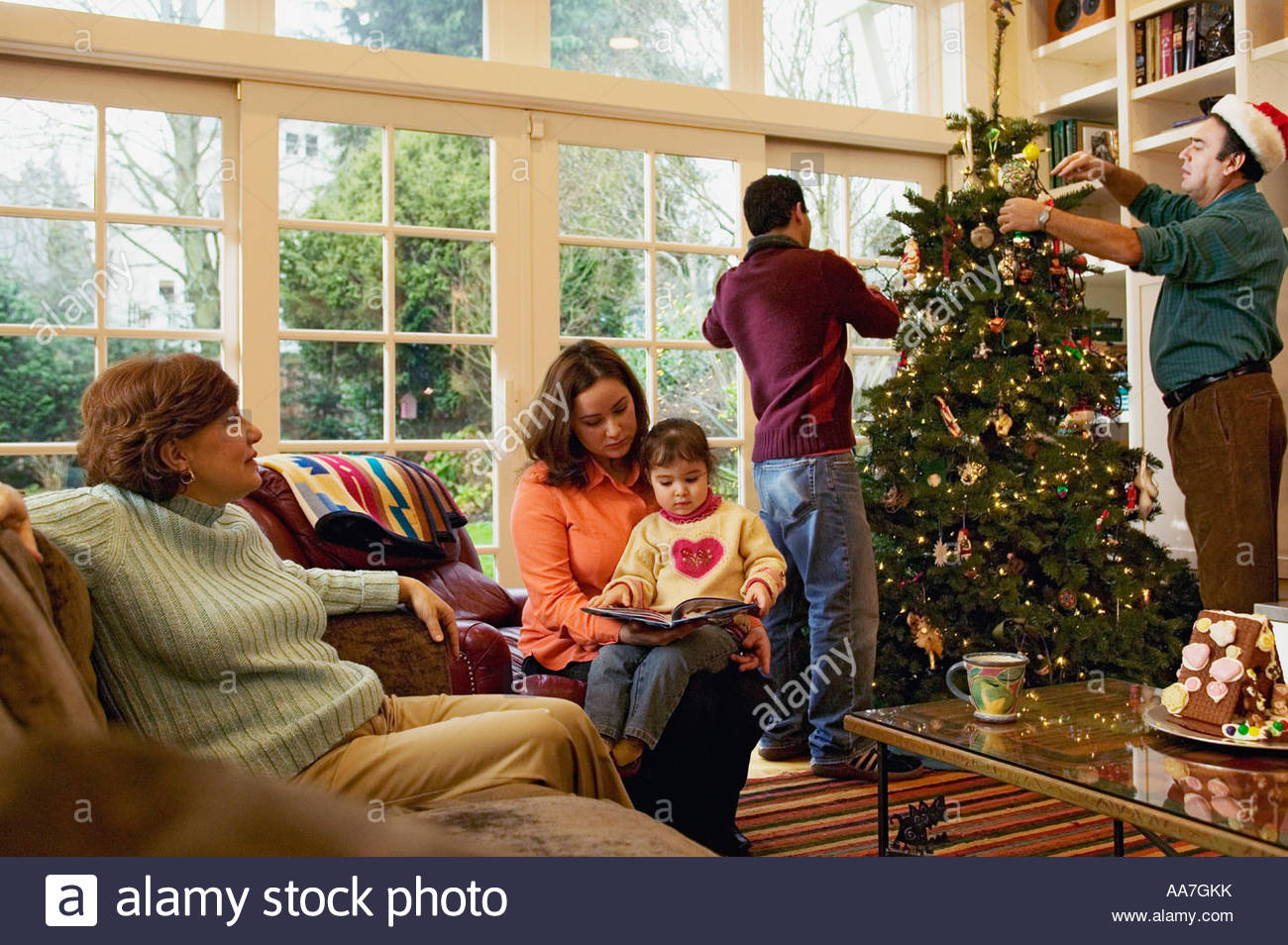 Christmas Tree Inside House Window Stock Photos