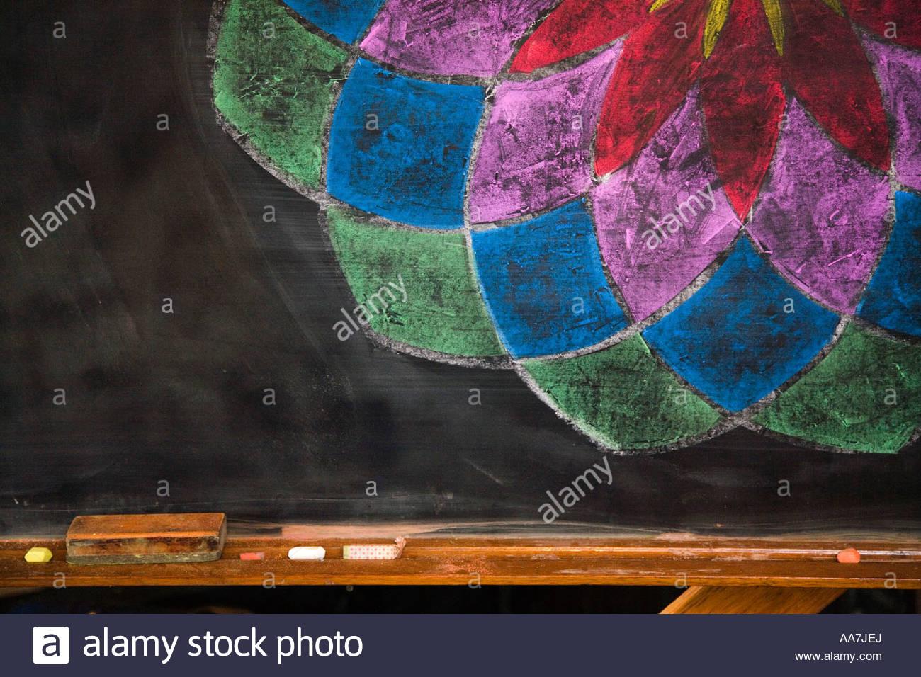 Multicolored chalk drawing on blackboard Stock Photo