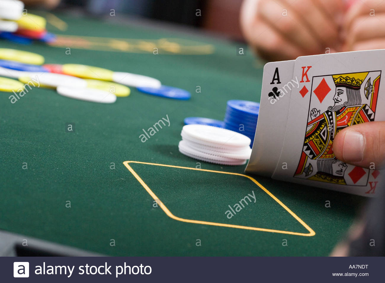 Close-up of cards on poker table - Stock Image