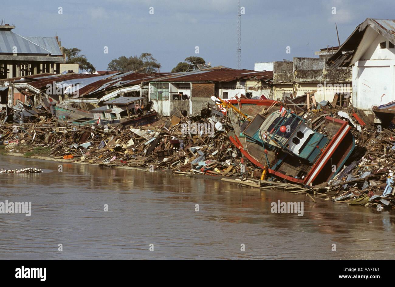 26th Dec 04 tsunami devastation Banda Aceh Stock Photo
