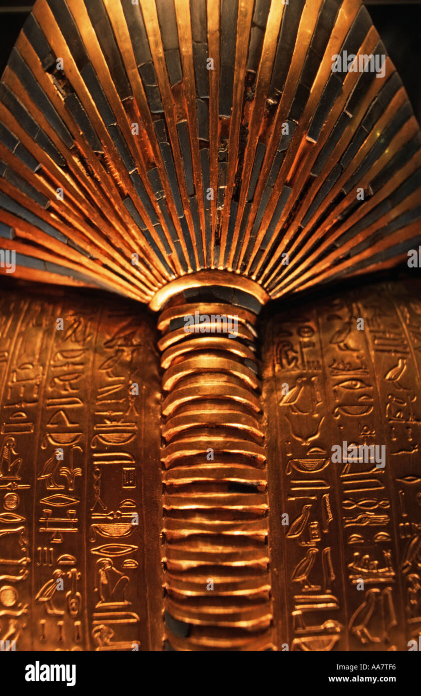 Ornately carved obverse of Tutankhamun s golden Death Mask Cairo Egypt Egyptian Museum Cairo Egypt Tutankhamun s Stock Photo