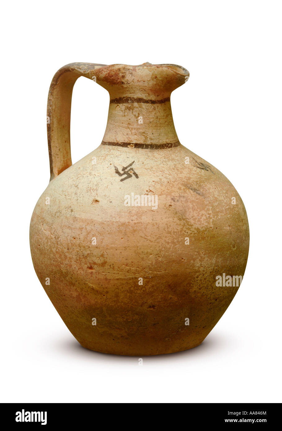 Juglet ware archaic wine jug Isolated pottery cutout - Stock Image