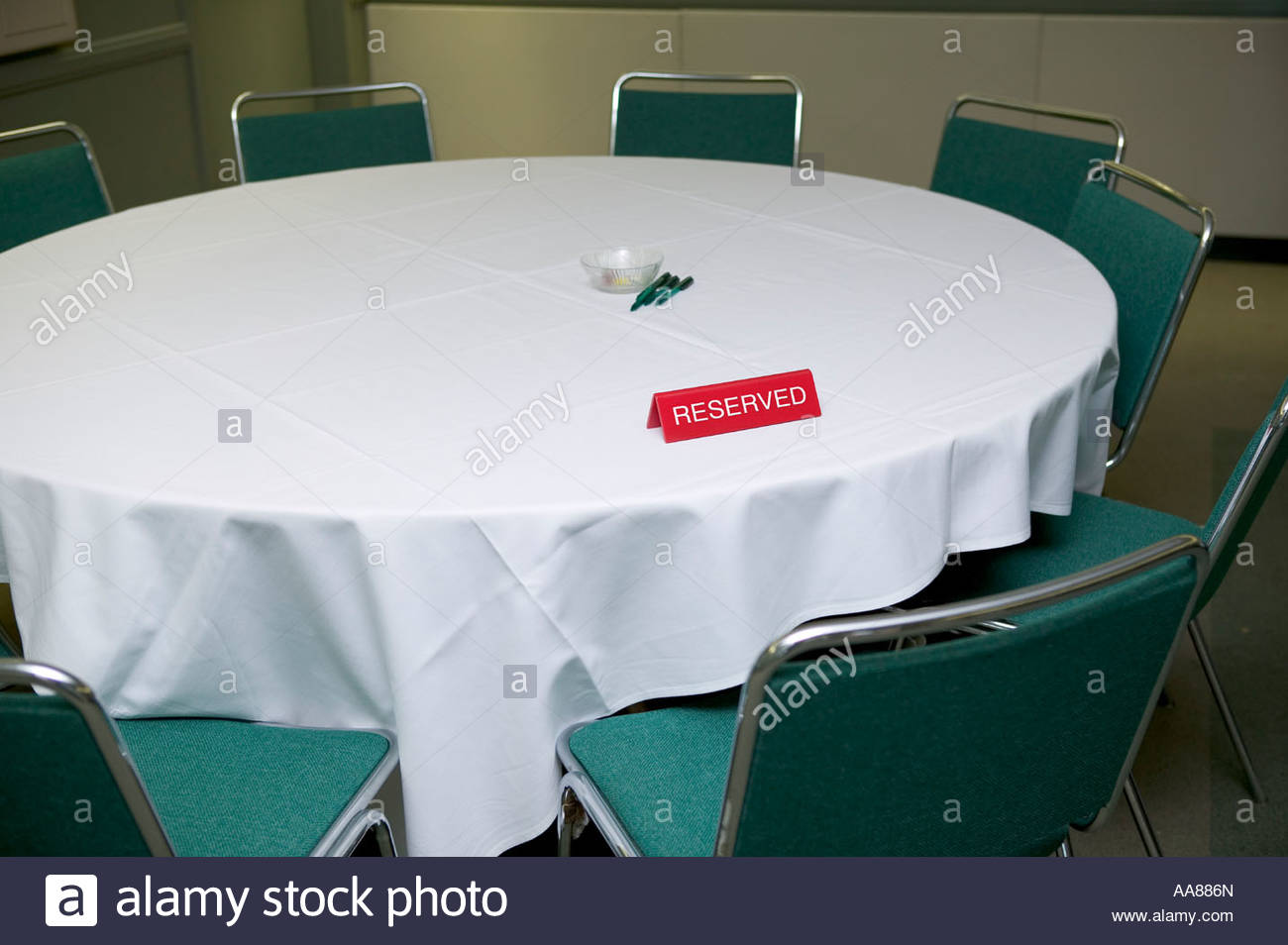 Table with reserved sign - Stock Image