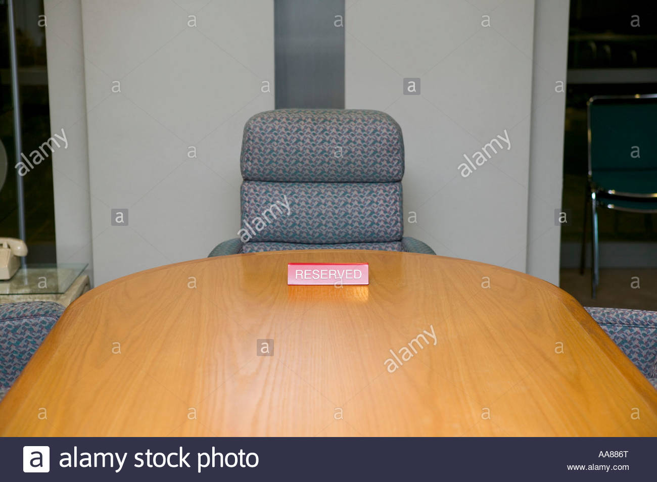 Conference table with reserved sign - Stock Image