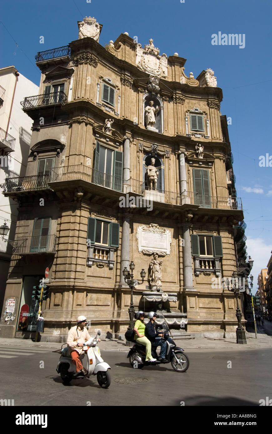 Quattro Canti di citta at Piazza Vigliena Palermo Sicily Italy - Stock Image