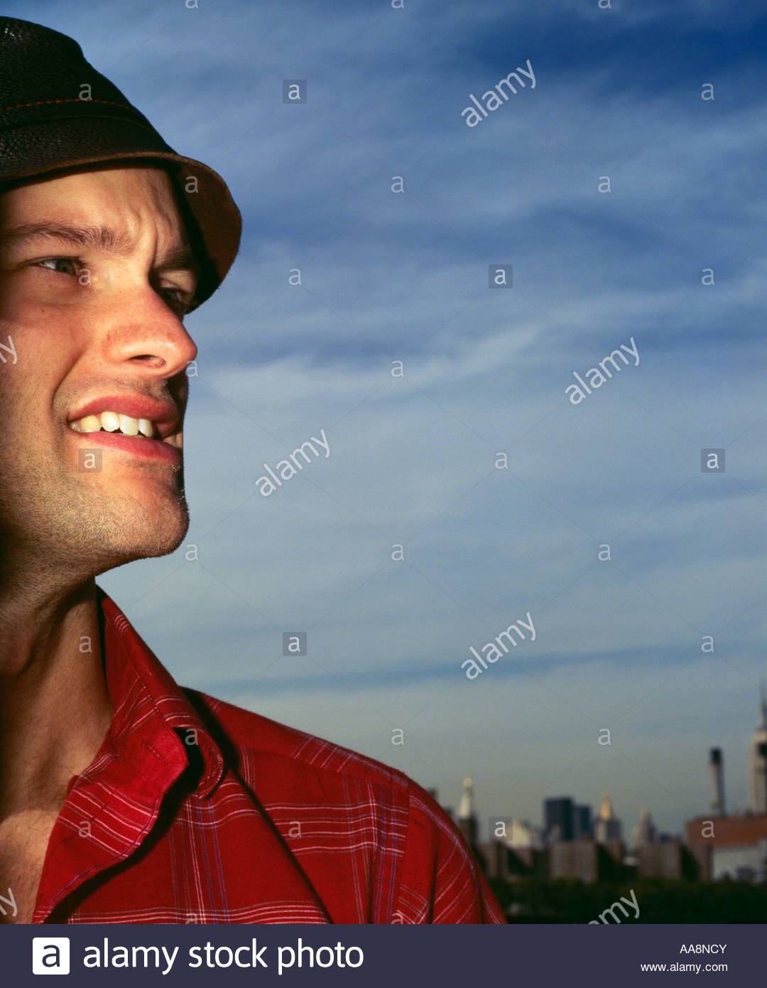 Profile of man outdoors - Stock Image