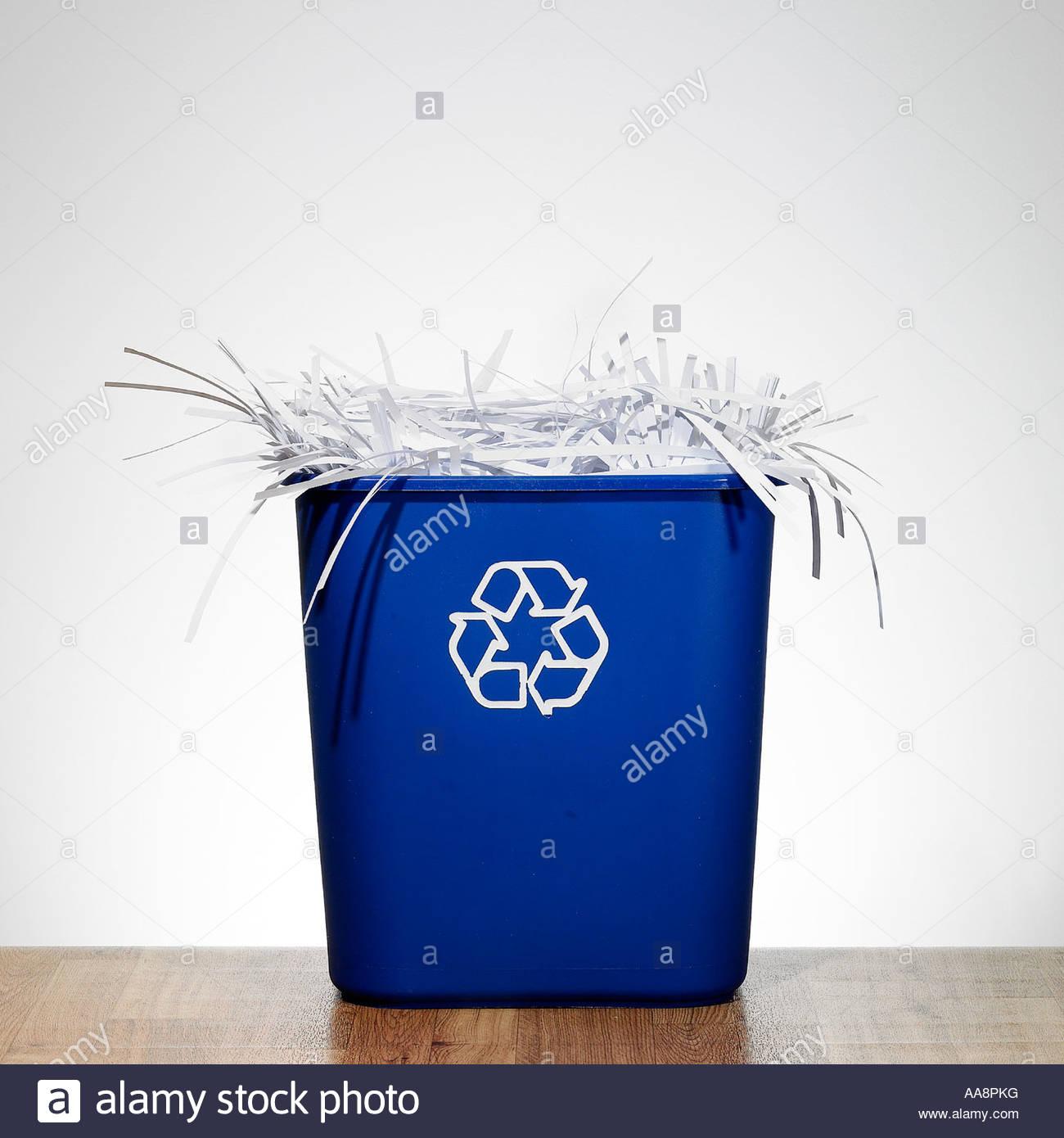 Shredded paper in blue bin