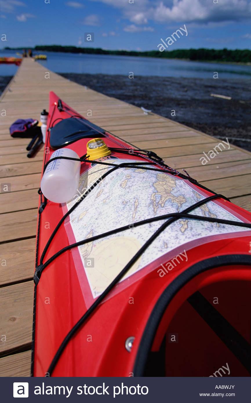 Kayaking and map - Stock Image