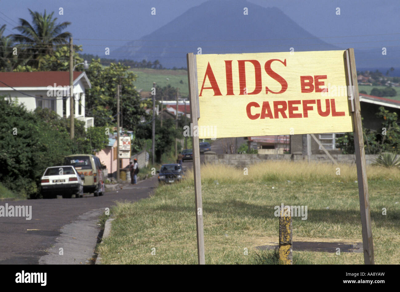 Third World island St Kitts displays a sign to warn its residence of AIDS - Stock Image