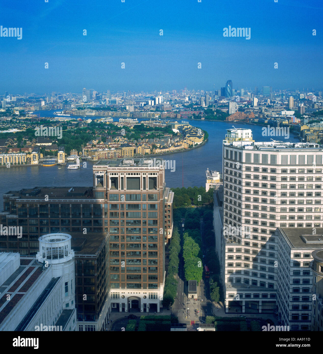 View from Canary Wharf looking West across River Thames towards Canada Water, Rotherhithe and City of London Stock Photo