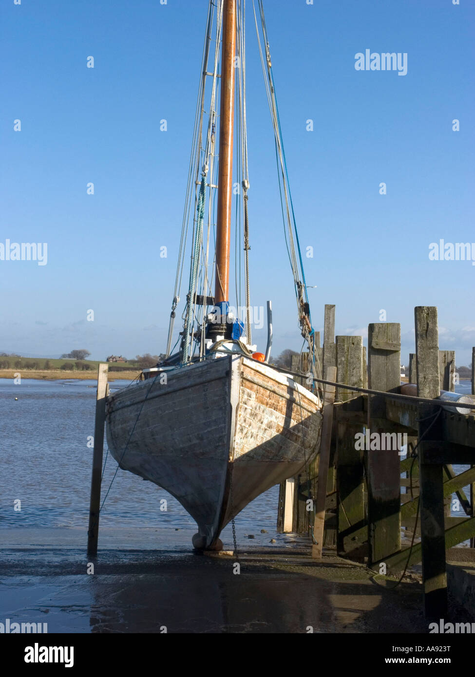 Ploughboy on the slipway on the River Wyre Estuary at Skippool - Stock Image